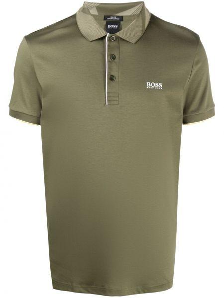 Koszula bawełniana krótki rękaw khaki Boss Hugo Boss