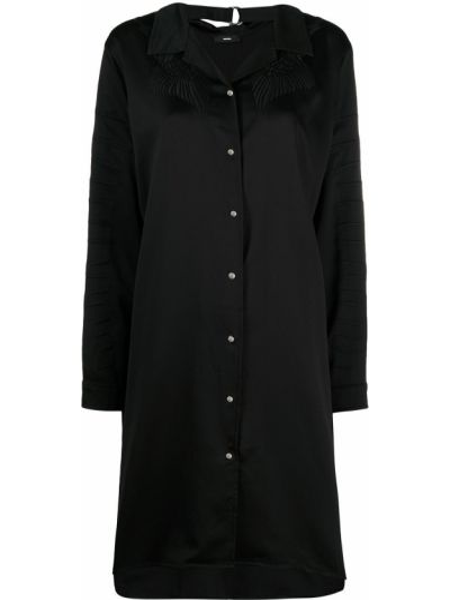 Черное платье макси трапеция с вышивкой Diesel