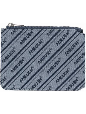Niebieski portfel z haftem Ambush
