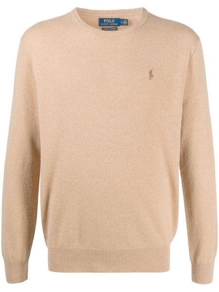 Światło kaszmir brązowy koszulka polo z haftem Polo Ralph Lauren