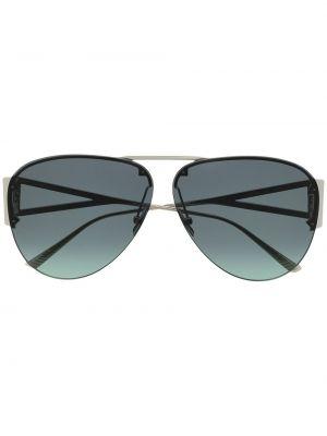 Серебряные солнцезащитные очки металлические Bottega Veneta Eyewear