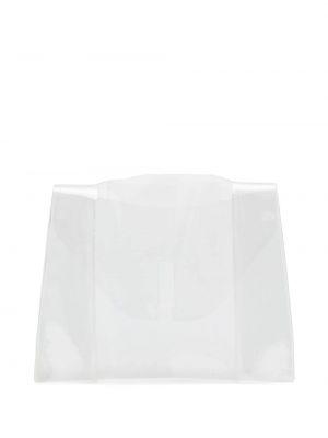Белый дождевик прозрачный из плащевки Valextra
