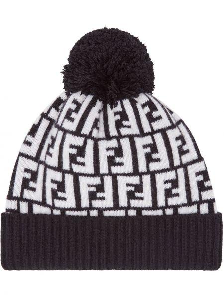 Czarny kapelusz wełniany Fendi