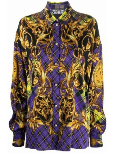Koszula z wiskozy - fioletowa Versace Jeans Couture