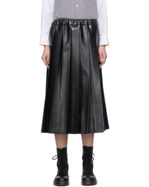 Плиссированная юбка на резинке кожаная Tricot Comme  Des Garçons