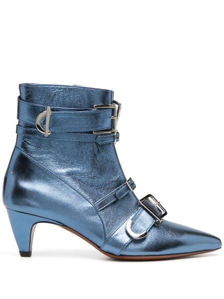 Синие сапоги на шпильке на каблуке с острым носом с пряжкой Alexa Chung