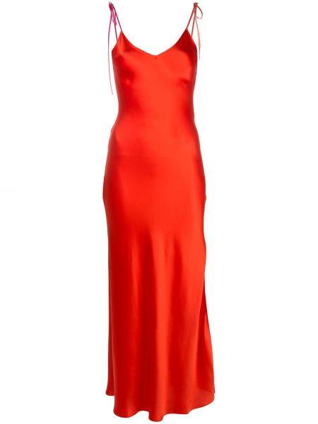 Czerwona sukienka z jedwabiu z dekoltem w serek Dannijo
