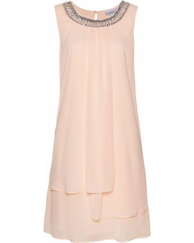 Розовое коктейльное платье круглое с аппликациями Bonprix