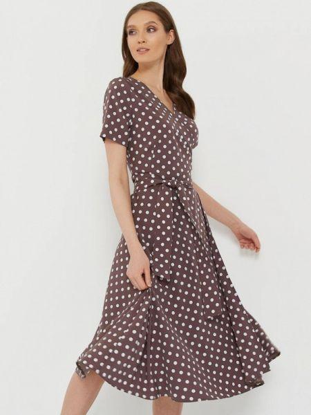 Коричневое однобортное платье A.karina