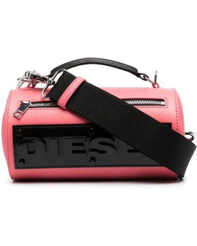 Розовая кожаная сумка через плечо на молнии Diesel