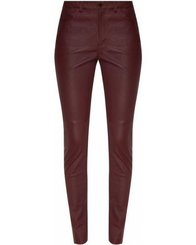 Красные кожаные брюки с поясом Izeta