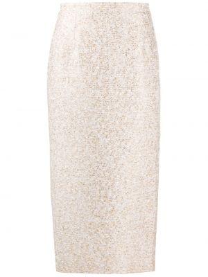 Юбка миди с вышивкой с разрезом из вискозы Alessandra Rich