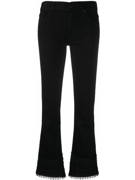 Хлопковые черные укороченные джинсы на молнии 7 For All Mankind