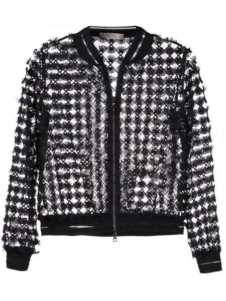 Черная длинная куртка с манжетами круглая D.exterior