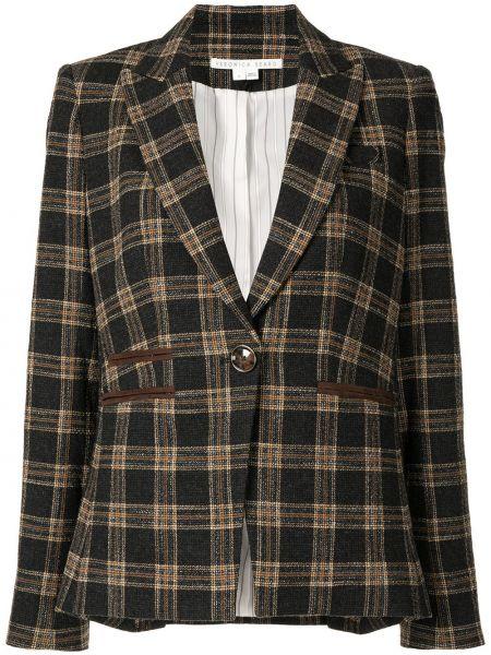 Шерстяной черный удлиненный пиджак в клетку на пуговицах Veronica Beard