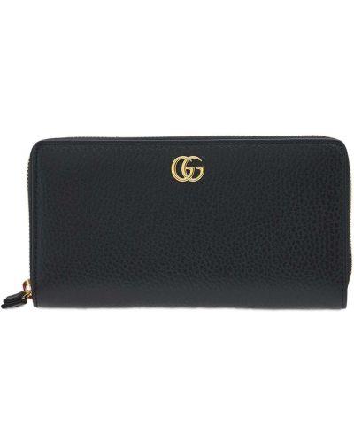 Черный кошелек для монет металлический на молнии Gucci
