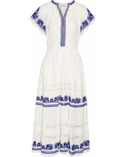 Расклешенное белое платье миди с подкладкой Sea