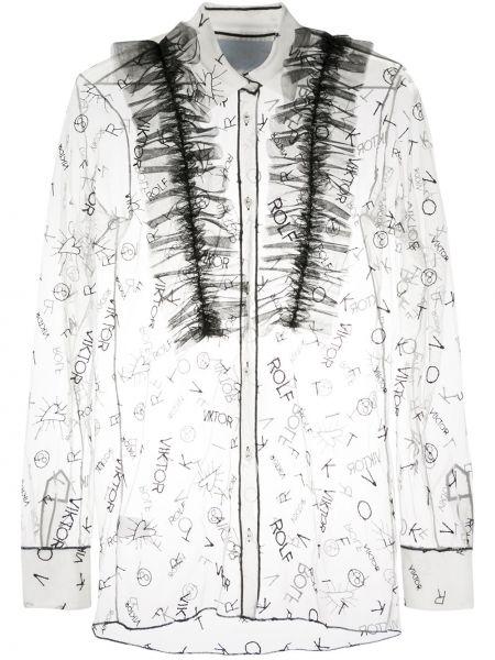 Белая классическая рубашка с оборками с воротником из вискозы Viktor & Rolf
