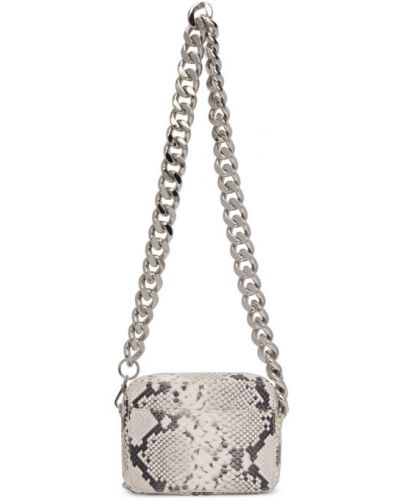 Черная сумка на цепочке с карманами с тиснением из натуральной кожи Kara
