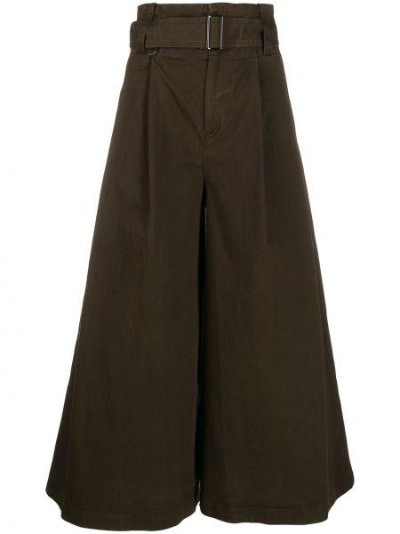 Хлопковые зеленые укороченные брюки с поясом свободного кроя A.f.vandevorst