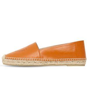 Оранжевые кожаные эспадрильи с перфорацией Stella Mccartney