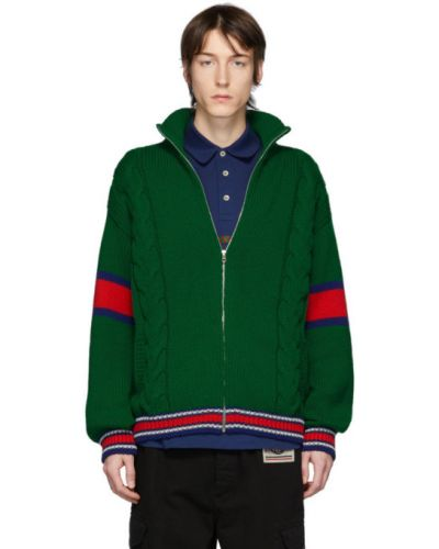 Zielony długi sweter wełniany w paski Gucci