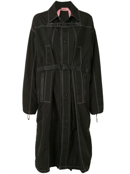 Черное пальто классическое с воротником на пуговицах N21