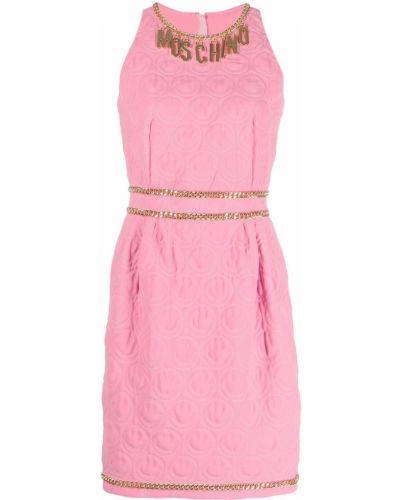 Прямое розовое платье мини без рукавов Moschino