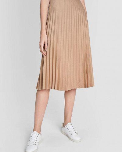 Плиссированная бежевая плиссированная юбка O'stin
