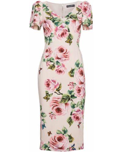 Платье миди с цветочным принтом шелковое Dolce & Gabbana
