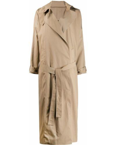 Коралловое длинное пальто с воротником с поясом Preen By Thornton Bregazzi
