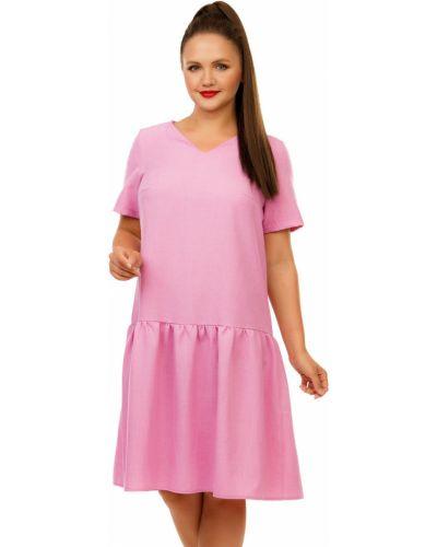 Платье мини на пуговицах с V-образным вырезом с оборками из габардина Liza Fashion