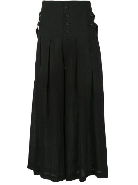 Черная с завышенной талией юбка макси со складками с пряжкой Yohji Yamamoto