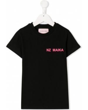 Хлопковая черная футболка круглая с круглым вырезом Natasha Zinko Kids