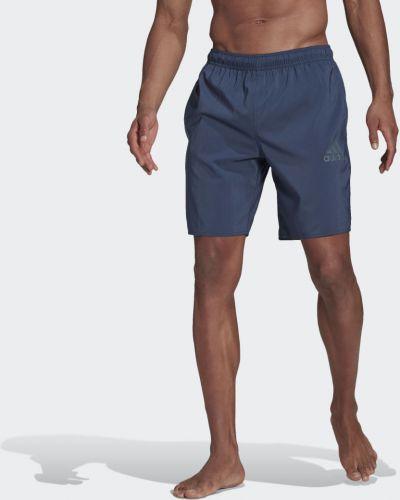 Пляжные синие спортивные шорты сетчатые Adidas
