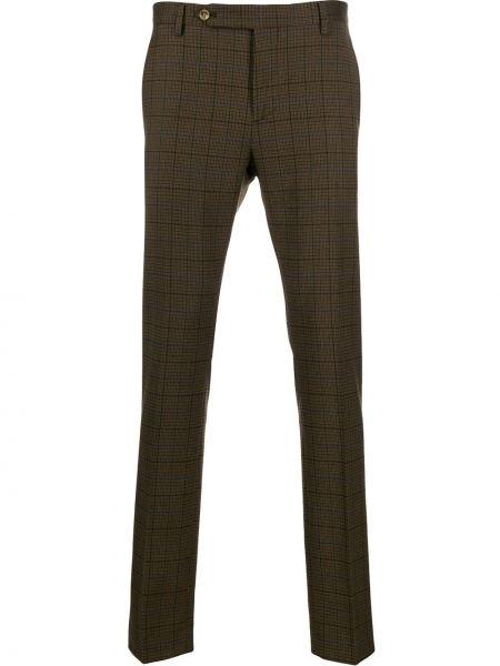 Коричневые прямые брюки с поясом новогодние Entre Amis
