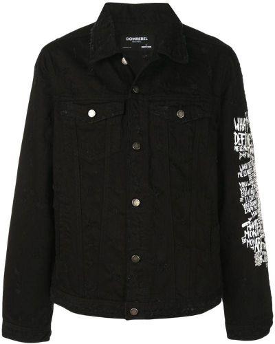 Джинсовая куртка черная с логотипом Dom Rebel