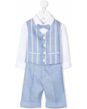 Klasyczny niebieski garnitur w paski Colorichiari