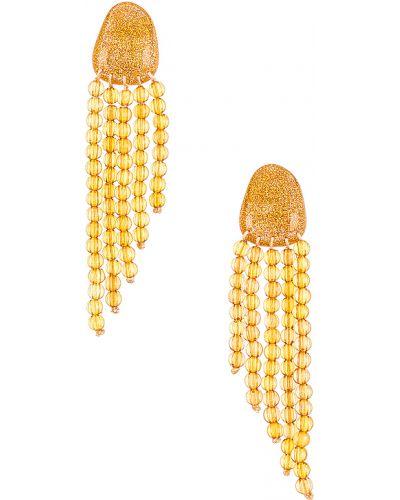 Żółte kolczyki sztyfty srebrne Valet