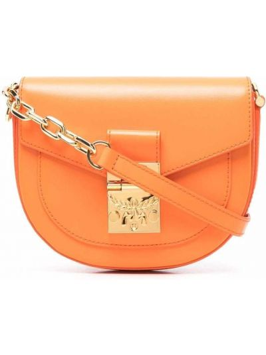 Кожаная сумка через плечо - оранжевая Mcm