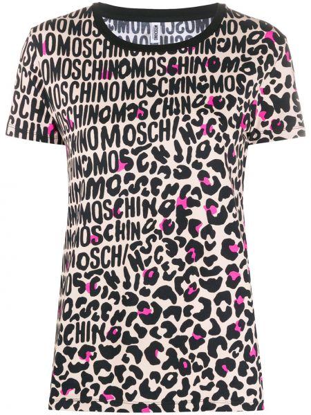 Czarny t-shirt bawełniany z printem Moschino Underwear