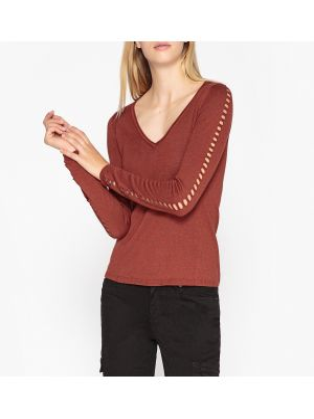 С рукавами оранжевый акриловый ажурный пуловер с V-образным вырезом Ikks