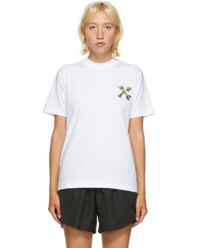 Biały bawełna koszula z krótkim rękawem z kołnierzem z haftem Off-white