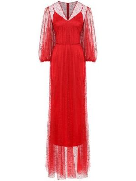 Красное приталенное вечернее платье из фатина с пайетками A La Russe