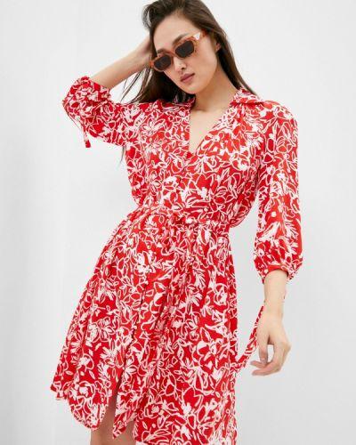 Красное платье-рубашка French Connection