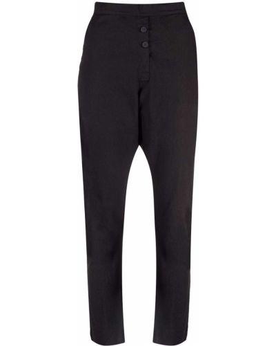 Хлопковые черные брюки дудочки стрейч Kristensen Du Nord