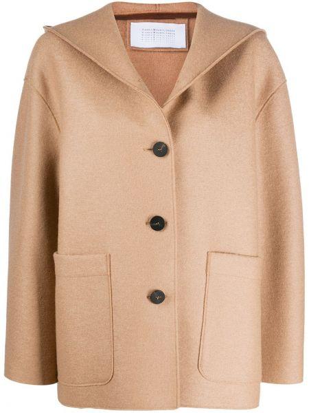 Однобортное шерстяное пальто с капюшоном на пуговицах с вырезом Harris Wharf London