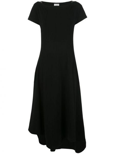 Хлопковое черное платье миди с вырезом Brunello Cucinelli