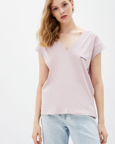 Розовая футболка с короткими рукавами Replay