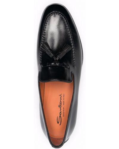 Черные туфли с кисточками Santoni